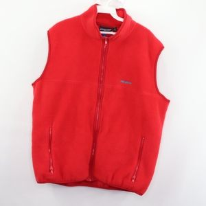 90s Patagonia Mens Large Spell Out Fleece Vest Red